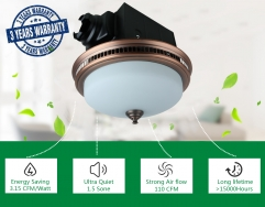 Ultra Quiet 110 CFM Round Exhaust Bathroom Fan with Light and Nightlight Copper - 3 Years Warranty