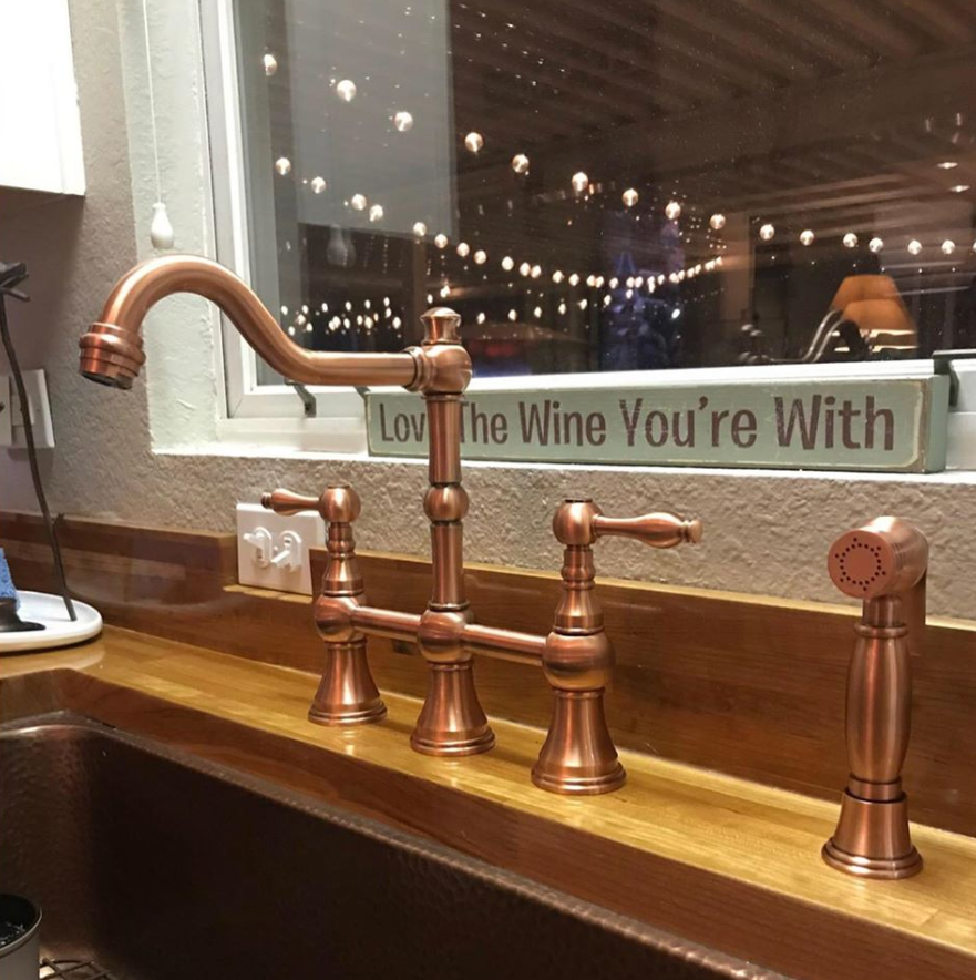 two handles copper bridge kitchen faucet with side spray 5 years warranty