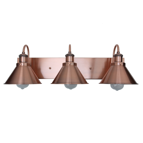 3-Light Copper Bathroom Vanity Light with Metal Shades UL Listed Damp Locations