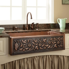 Akicon Single Bowl Farmhouse Apron Copper Kitchen Sink