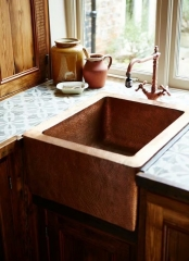 Akicon Single Bowl Farmhouse Copper Kichen Sink