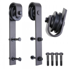 Standard Black Sliding Door Track and Hardware Kit