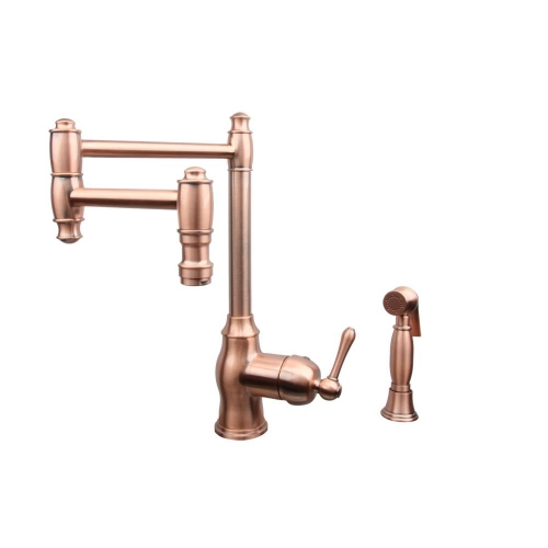One-Handle Copper Pot Filler Kitchen Faucet with Side Spray - 5 Years Warranty
