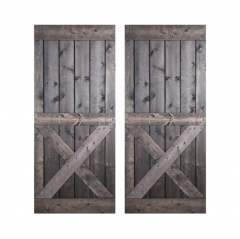 Paneled Wood Painted Double Barn Door without Installation Hardware Kit - DX Series (Set of 2)