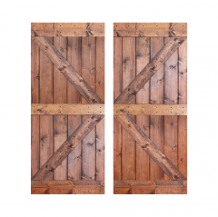 Paneled Wood Painted Double Barn Door without Installation Hardware Kit - DK Series (Set of 2)