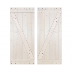 Paneled Wood Painted Double Barn Door without Installation Hardware Kit - DZ Series (Set of 2)