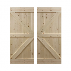 Paneled Wood Unfinished Double Barn Door without Installation Hardware Kit - DUF Series (Set of 2)