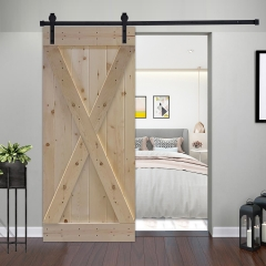 Assembled Unfinished Interior Sliding Barn Door without Installation Hardware Kit