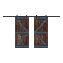 Paneled Wood Painted Double Barn Door with Installation Hardware Kit - BG Series (Set of 2)