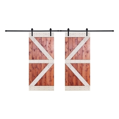 Paneled Wood Painted Double Barn Door with Installation Hardware Kit - HW Series (Set of 2)