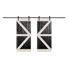 Paneled Wood Painted Double Barn Door with Installation Hardware Kit - BW Series (Set of 2)