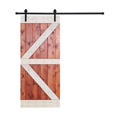 Paneled Wood Barn Door with Installation Hardware Kit - HW Series