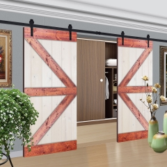 Paneled Wood Painted Double Barn Door with Installation Hardware Kit - WH Series (Set of 2)