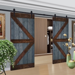Paneled Wood Painted Double Barn Door with Installation Hardware Kit - GB Series (Set of 2)