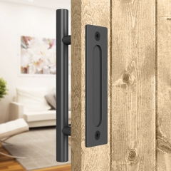12 Inches Sliding Barn Door Handle, Pull and Flush Hardware Set, Black Powder Coated Finish, Two-Side Design