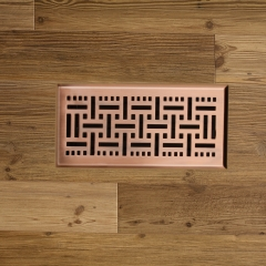 "Akicon 4""x10"" Floor Register with Trap Net, 4-Inch x 10-Inch Duct Opening Measurements, Copper Finishing"
