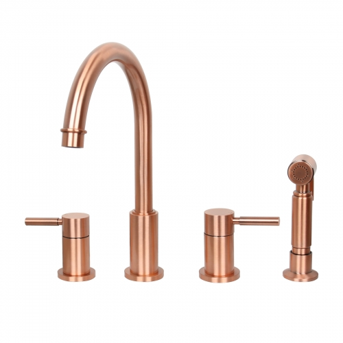 Two-Handles Copper Widespread Kitchen Faucet with Side Spray - Akicon